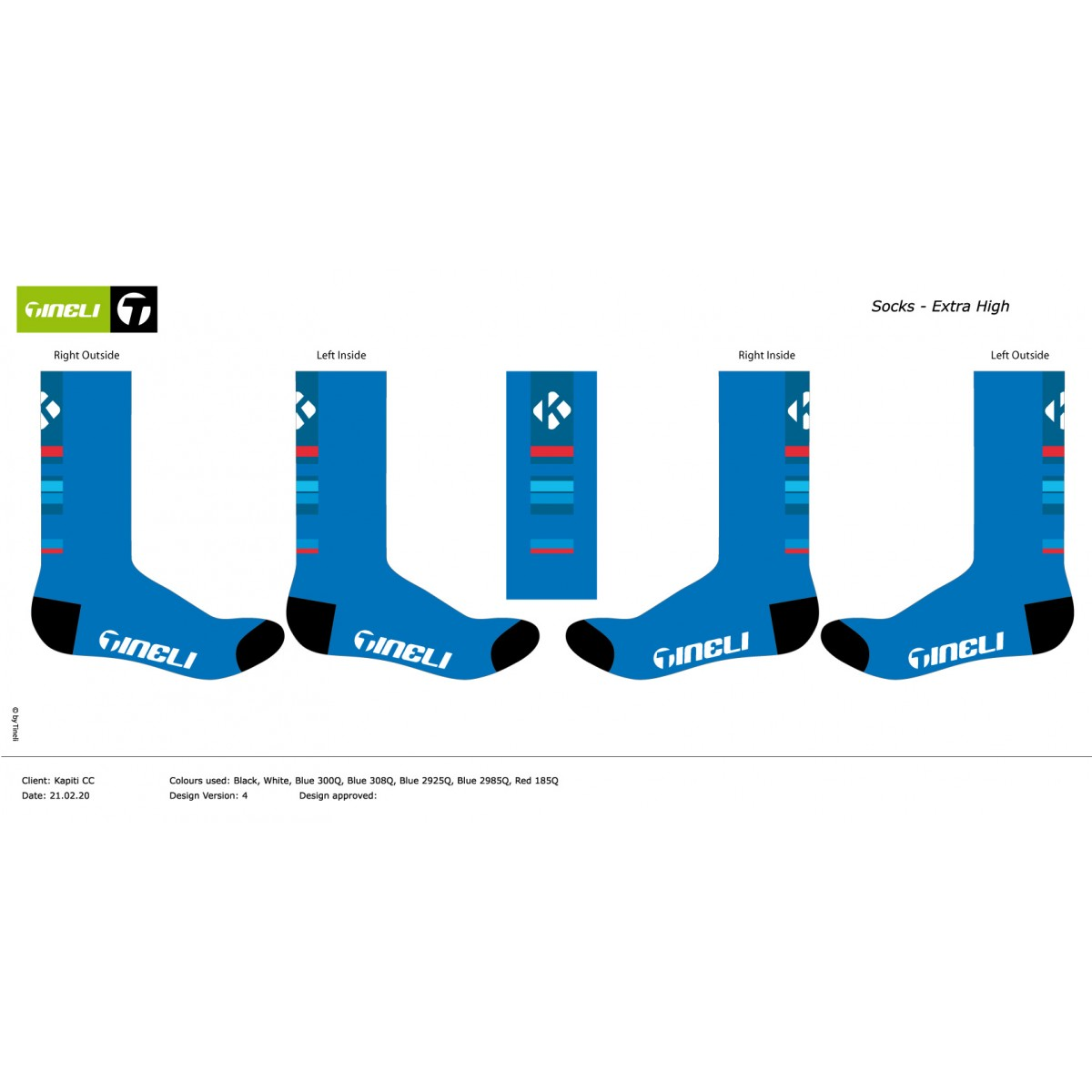 Kapiti CC 20 socks high OS 4 Sublimated Sock Long